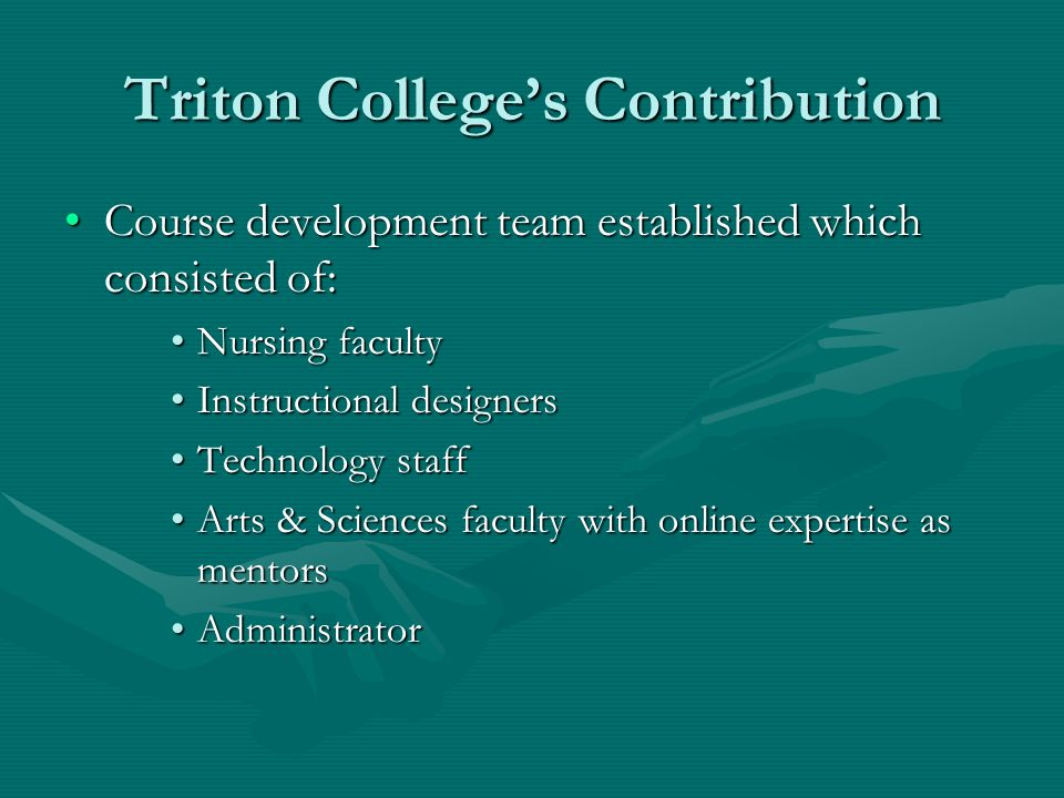Triton Colleges Contribution Course development team established which consisted of:Course development team established which consisted of: Nursing facultyNursing faculty Instructional designersInstructional designers Technology staffTechnology staff Arts & Sciences faculty with online expertise as mentorsArts & Sciences faculty with online expertise as mentors AdministratorAdministrator