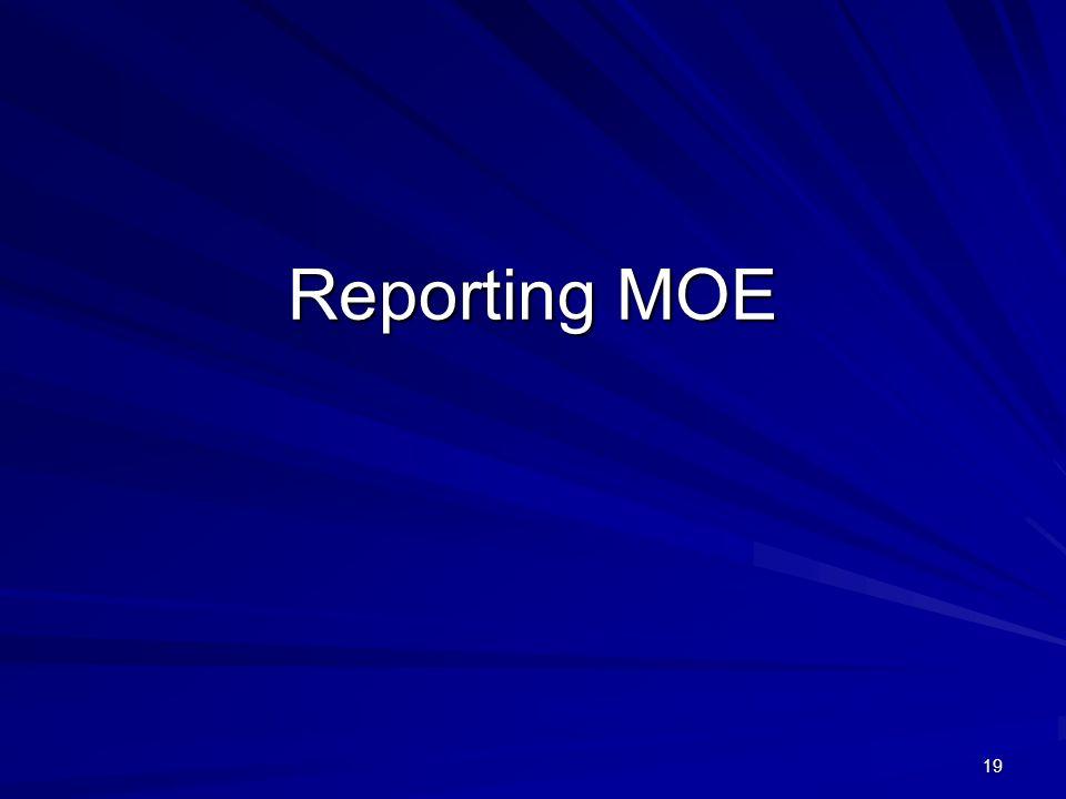 19 Reporting MOE