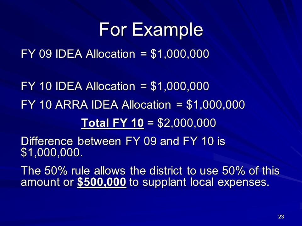 23 For Example FY 09 IDEA Allocation = $1,000,000 FY 10 IDEA Allocation = $1,000,000 FY 10 ARRA IDEA Allocation = $1,000,000 Total FY 10 = $2,000,000 Difference between FY 09 and FY 10 is $1,000,000.