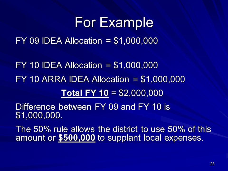 23 For Example FY 09 IDEA Allocation = $1,000,000 FY 10 IDEA Allocation = $1,000,000 FY 10 ARRA IDEA Allocation = $1,000,000 Total FY 10 = $2,000,000