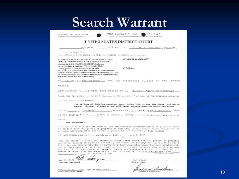 Search Warrant 13