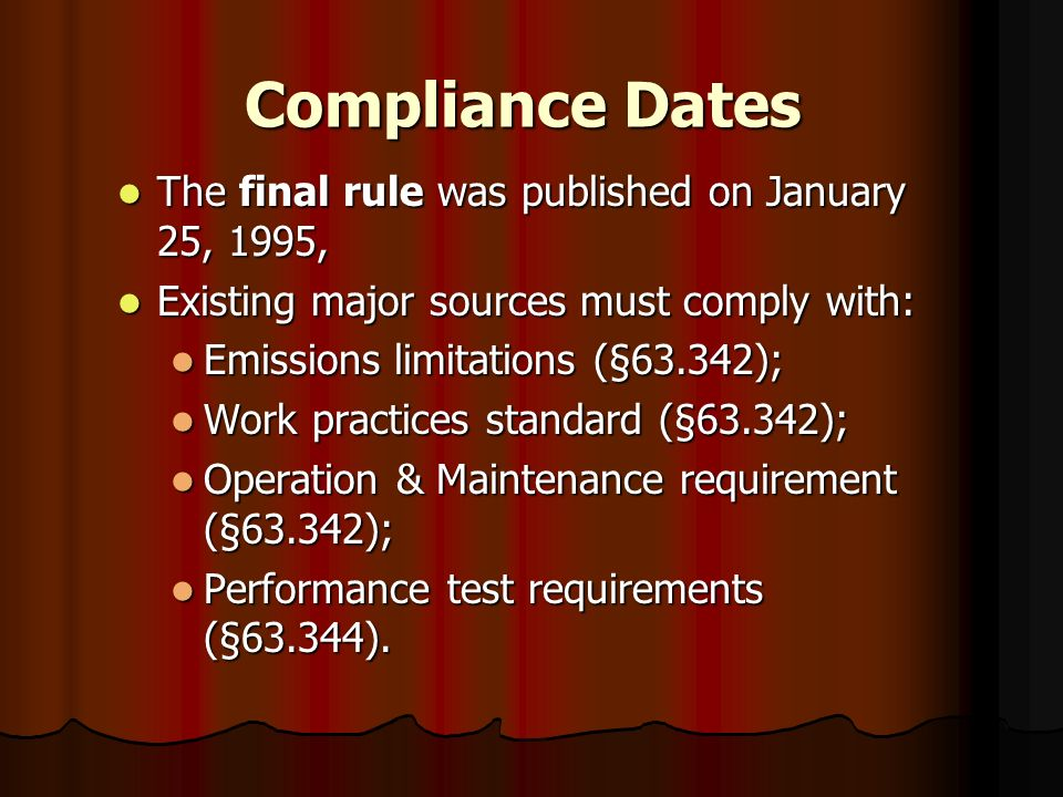 Compliance Dates The final rule was published on January 25, 1995, The final rule was published on January 25, 1995, Existing major sources must compl