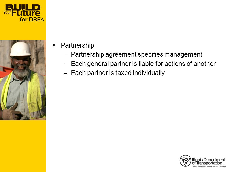 for DBEs Partnership –Partnership agreement specifies management –Each general partner is liable for actions of another –Each partner is taxed individ