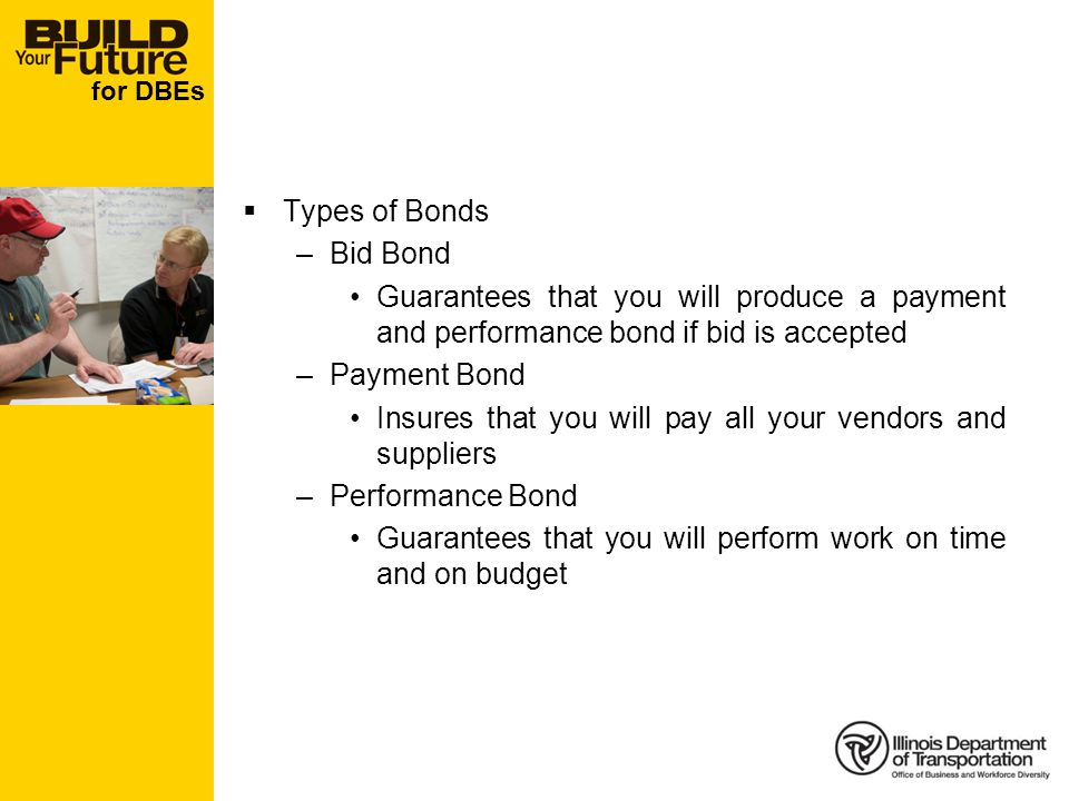 for DBEs Types of Bonds –Bid Bond Guarantees that you will produce a payment and performance bond if bid is accepted –Payment Bond Insures that you will pay all your vendors and suppliers –Performance Bond Guarantees that you will perform work on time and on budget