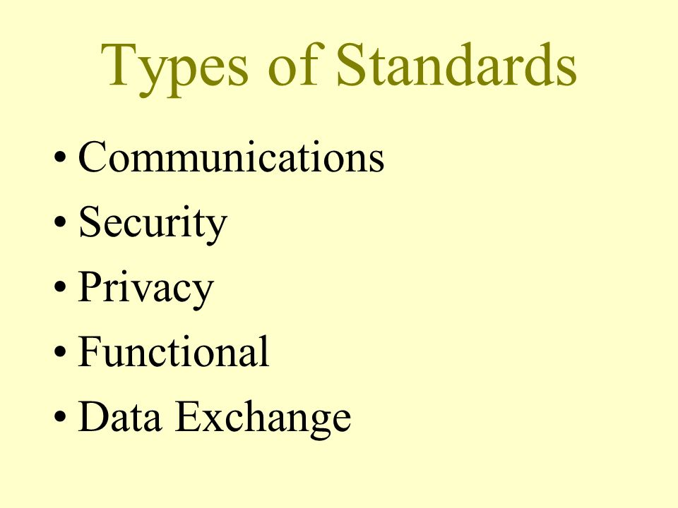 Types of Standards Communications Security Privacy Functional Data Exchange