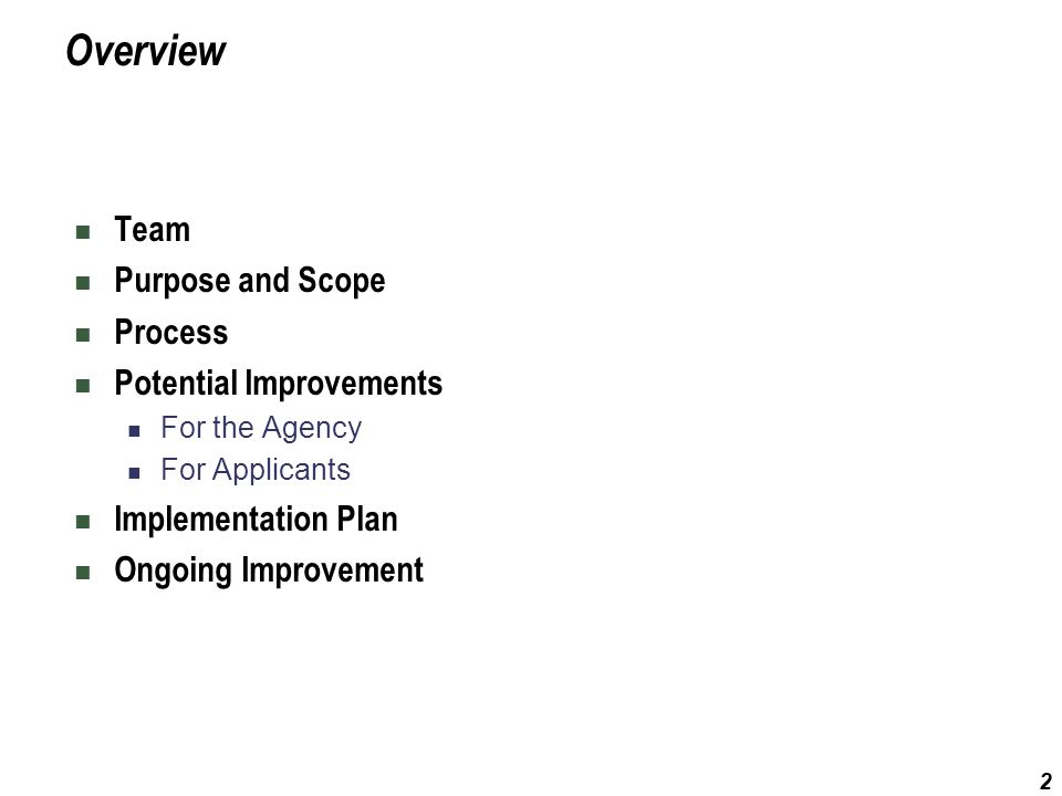 2 Overview Team Purpose and Scope Process Potential Improvements For the Agency For Applicants Implementation Plan Ongoing Improvement