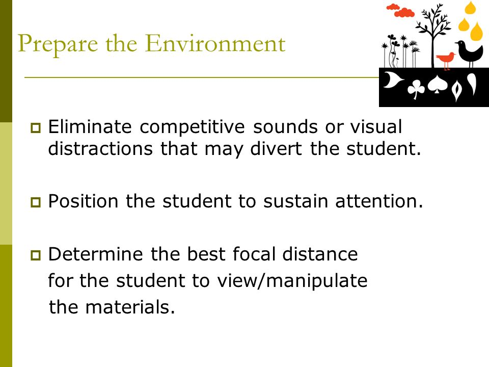 Prepare the Environment Eliminate competitive sounds or visual distractions that may divert the student.