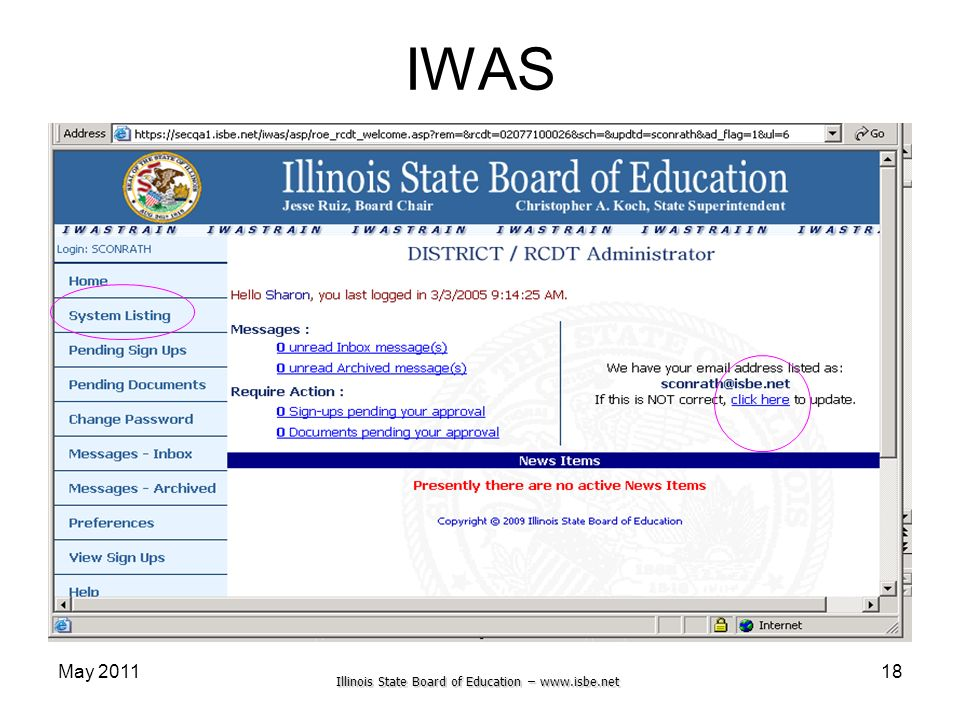 Illinois State Board of Education – www.isbe.net May 201118 IWAS