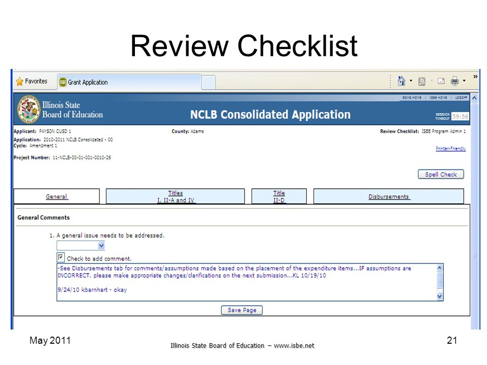 Illinois State Board of Education – www.isbe.net Review Checklist May 201121