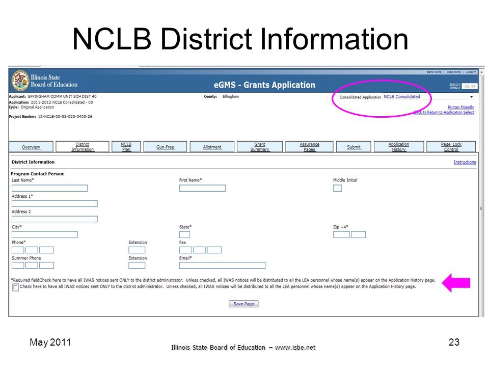 Illinois State Board of Education – www.isbe.net May 201123 NCLB District Information