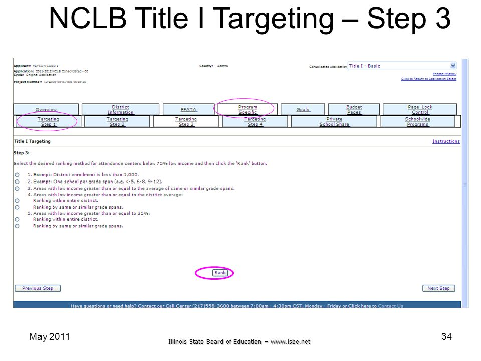 Illinois State Board of Education – www.isbe.net May 201134 NCLB Title I Targeting – Step 3