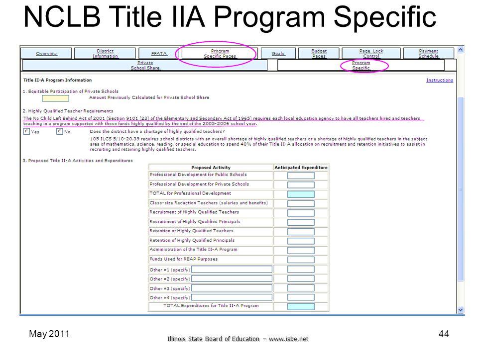 Illinois State Board of Education – www.isbe.net May 201144 NCLB Title IIA Program Specific