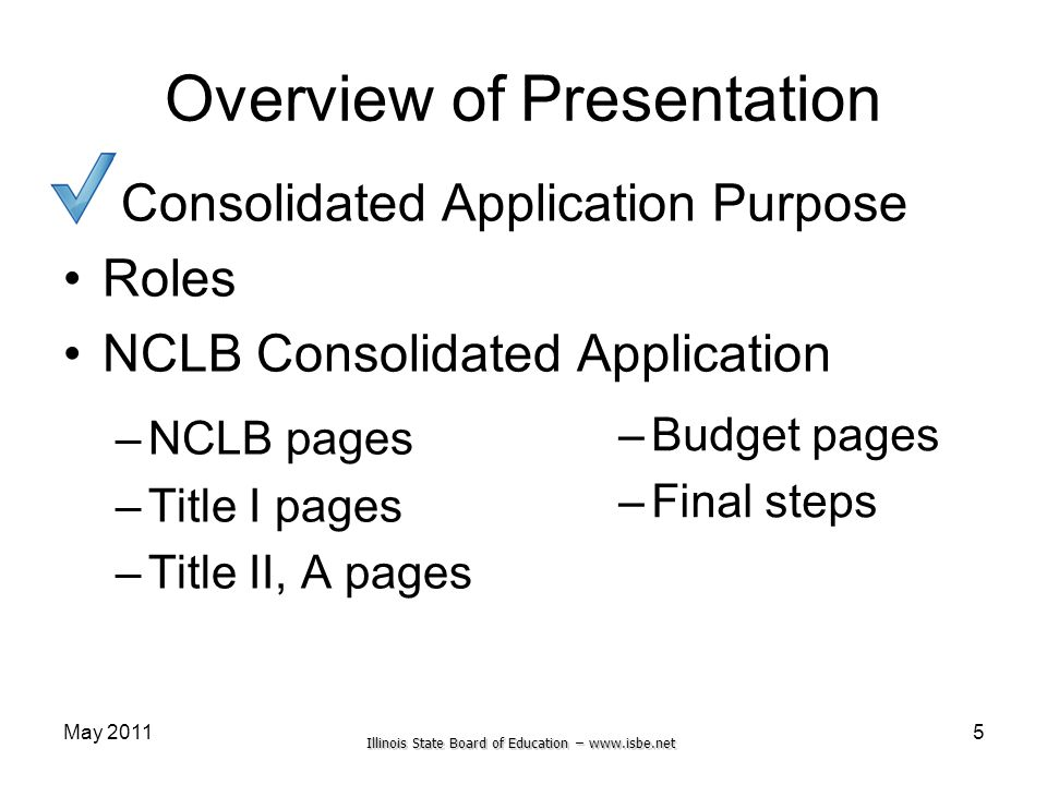 Illinois State Board of Education – www.isbe.net May 2011 Overview of Presentation Consolidated Application Purpose Roles NCLB Consolidated Applicatio