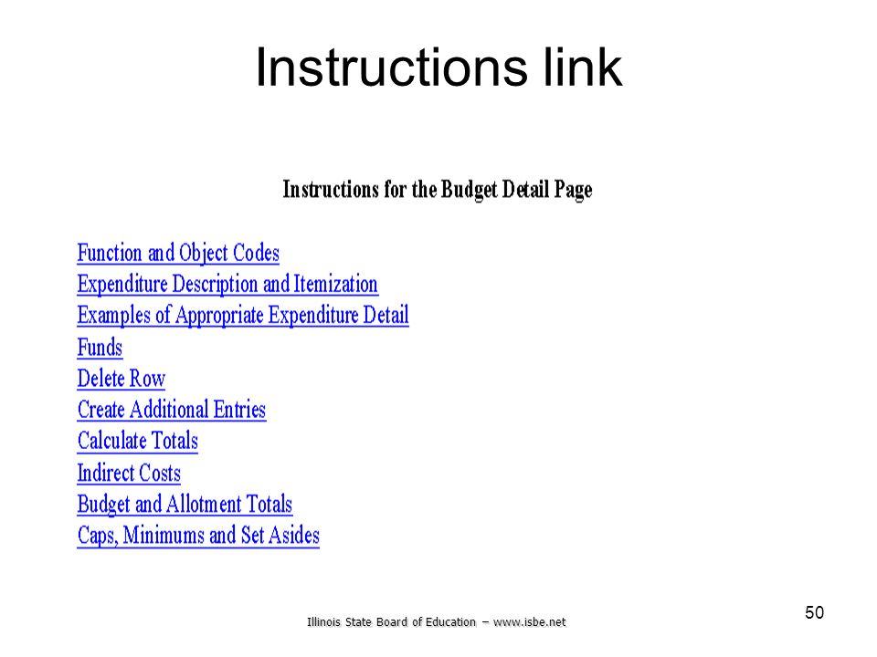 Illinois State Board of Education – www.isbe.net 50 Instructions link