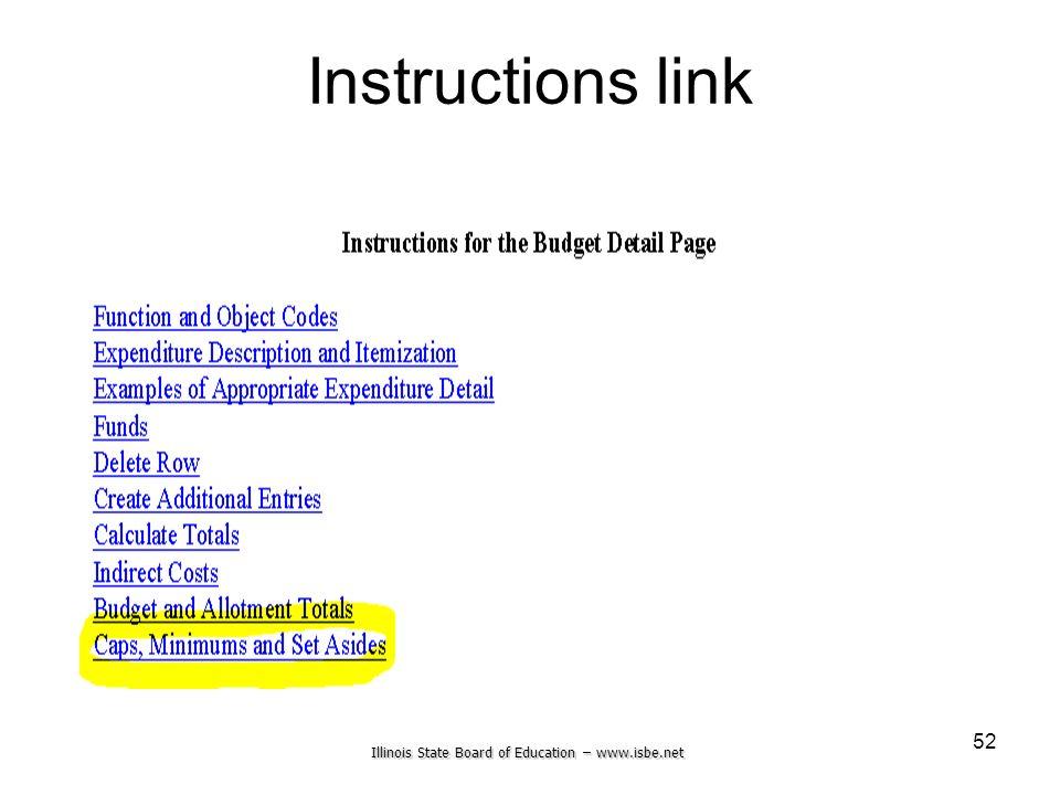 Illinois State Board of Education – www.isbe.net 52 Instructions link