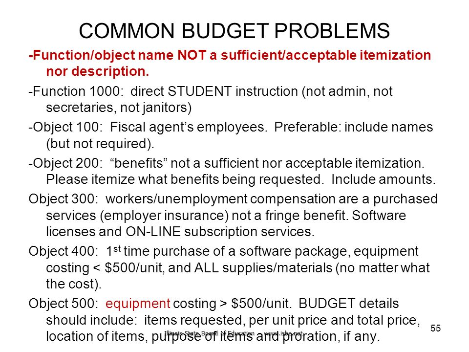 Illinois State Board of Education – www.isbe.net COMMON BUDGET PROBLEMS -Function/object name NOT a sufficient/acceptable itemization nor description.