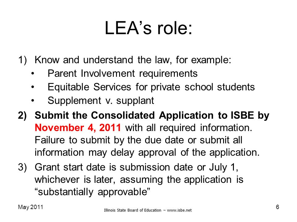 Illinois State Board of Education – www.isbe.net May 2011 LEAs role: 1)Know and understand the law, for example: Parent Involvement requirements Equit