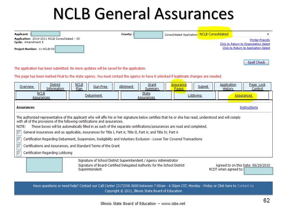 Illinois State Board of Education – www.isbe.net 62 NCLB General Assurances