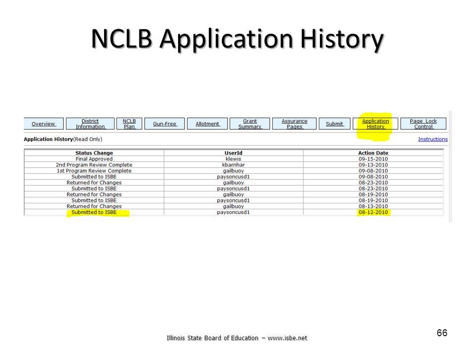 Illinois State Board of Education – www.isbe.net 66 NCLB Application History
