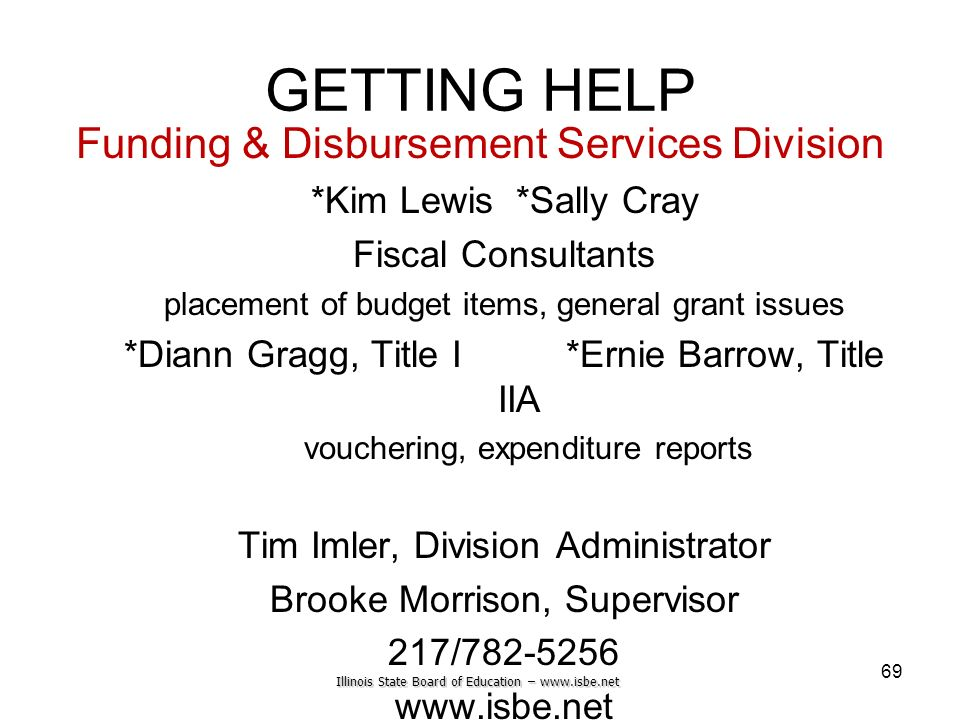 Illinois State Board of Education – www.isbe.net GETTING HELP Funding & Disbursement Services Division *Kim Lewis *Sally Cray Fiscal Consultants place