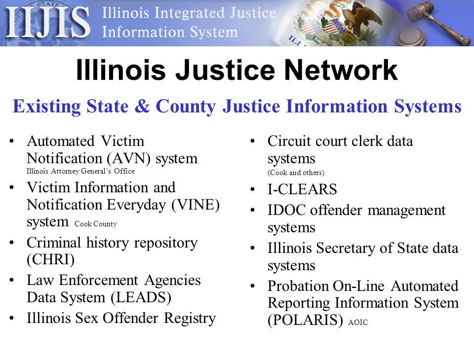 Illinois Justice Network Automated Victim Notification (AVN) system Illinois Attorney Generals Office Victim Information and Notification Everyday (VINE) system Cook County Criminal history repository (CHRI) Law Enforcement Agencies Data System (LEADS) Illinois Sex Offender Registry Circuit court clerk data systems (Cook and others) I-CLEARS IDOC offender management systems Illinois Secretary of State data systems Probation On-Line Automated Reporting Information System (POLARIS) AOIC Existing State & County Justice Information Systems