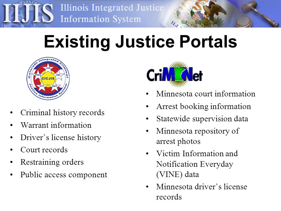 Existing Justice Portals Criminal history records Warrant information Drivers license history Court records Restraining orders Public access component Minnesota court information Arrest booking information Statewide supervision data Minnesota repository of arrest photos Victim Information and Notification Everyday (VINE) data Minnesota drivers license records