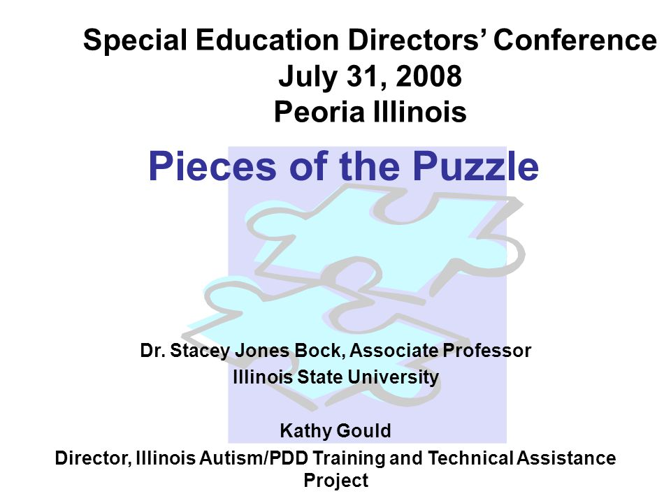 Pieces of the Puzzle Dr. Stacey Jones Bock, Associate Professor Illinois State University Kathy Gould Director, Illinois Autism/PDD Training and Techn