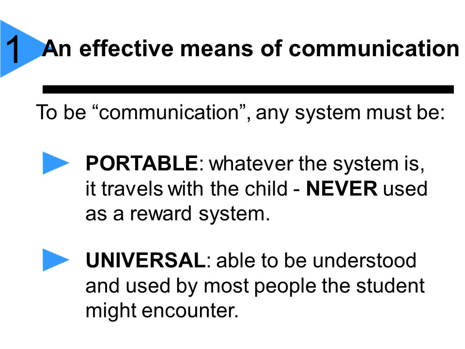 To be communication, any system must be: 1 An effective means of communication PORTABLE: whatever the system is, it travels with the child - NEVER use