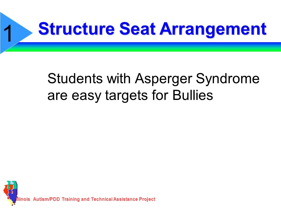 Illinois Autism/PDD Training and Technical Assistance Project Structure Seat Arrangement Students with Asperger Syndrome are easy targets for Bullies