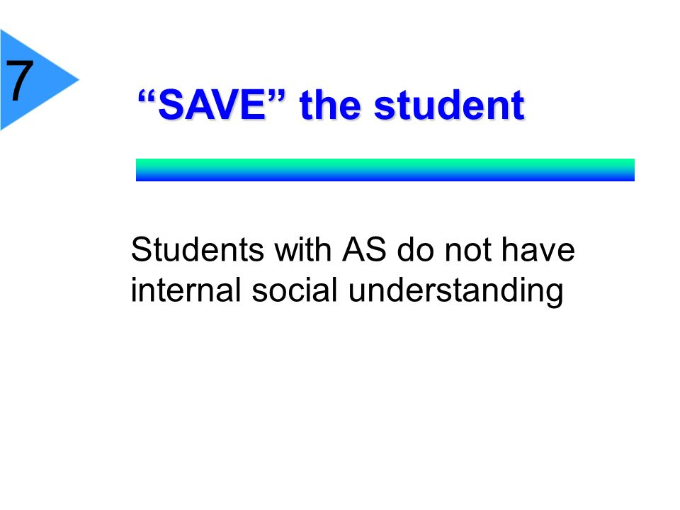 SAVE the student Students with AS do not have internal social understanding 7