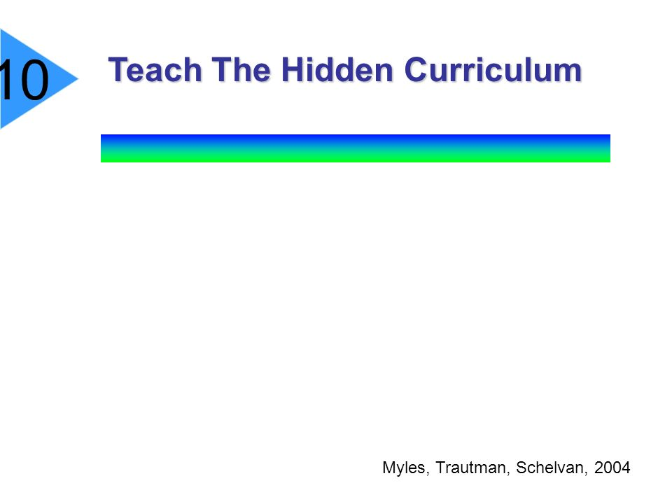 Teach The Hidden Curriculum Teach The Hidden Curriculum Myles, Trautman, Schelvan, 2004 10