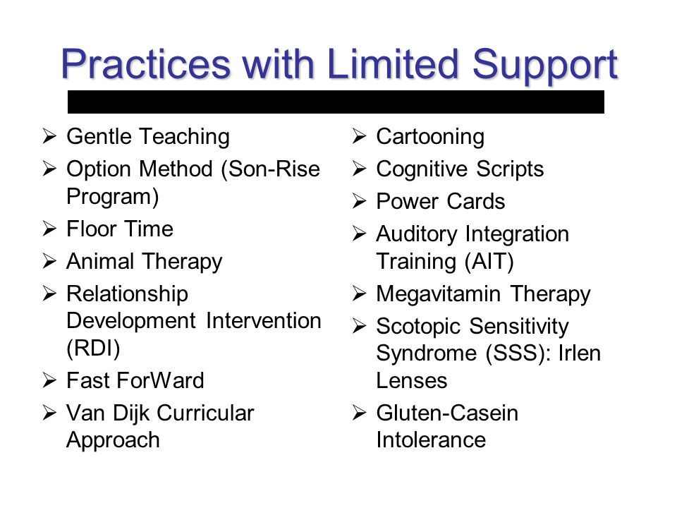 Practices with Limited Support Gentle Teaching Option Method (Son-Rise Program) Floor Time Animal Therapy Relationship Development Intervention (RDI)