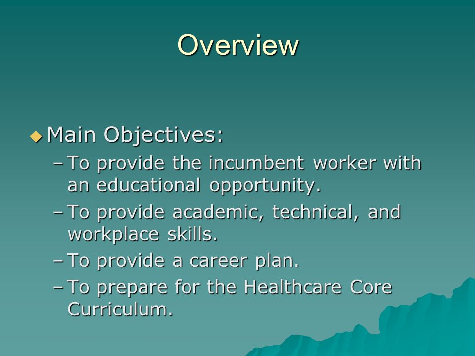 Overview Specific Objectives: Specific Objectives: –Provide Adult Basic Education with a Hybrid Online Component.
