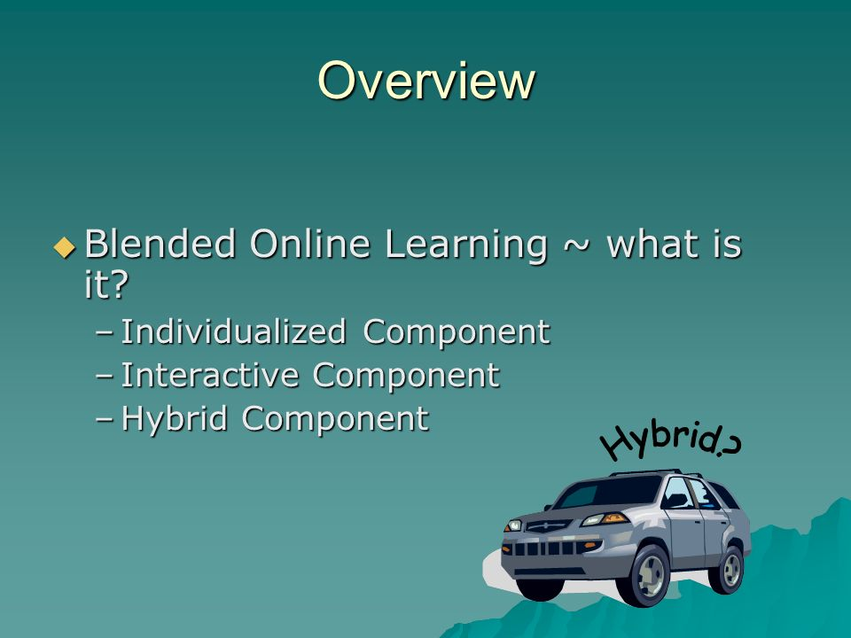 Overview Blended Online Learning ~ what is it. Blended Online Learning ~ what is it.