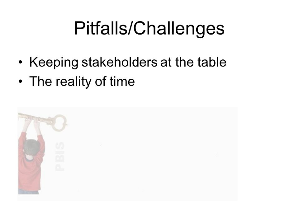 Pitfalls/Challenges Keeping stakeholders at the table The reality of time