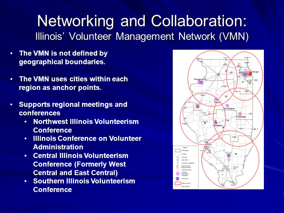 Networking and Collaboration: Illinois Volunteer Management Network (VMN) The VMN is not defined by geographical boundaries.