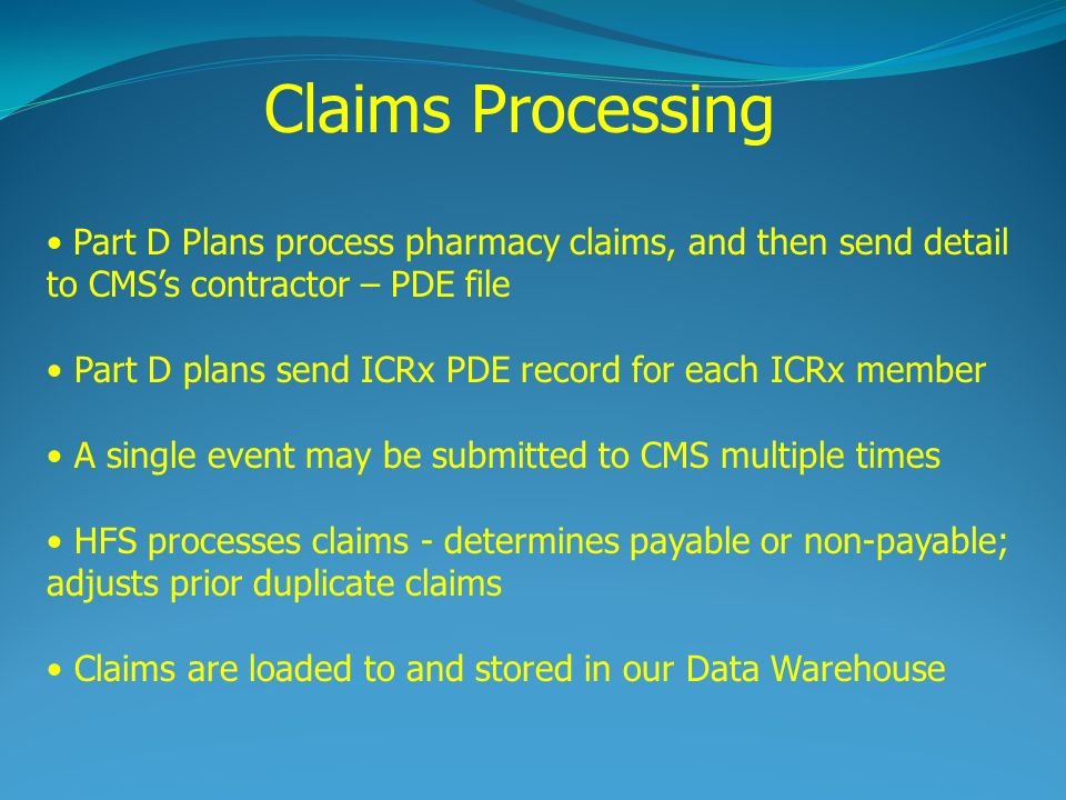 Claims Processing Part D Plans process pharmacy claims, and then send detail to CMSs contractor – PDE file Part D plans send ICRx PDE record for each ICRx member A single event may be submitted to CMS multiple times HFS processes claims - determines payable or non-payable; adjusts prior duplicate claims Claims are loaded to and stored in our Data Warehouse