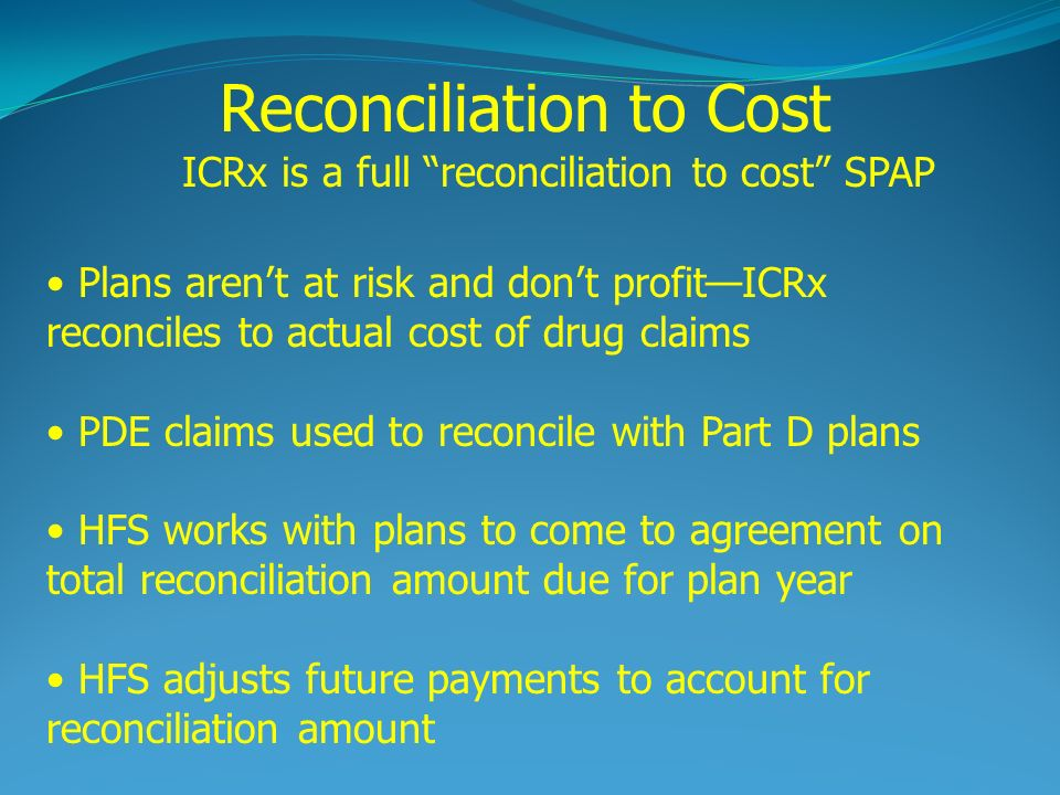 Reconciliation to Cost ICRx is a full reconciliation to cost SPAP Plans arent at risk and dont profitICRx reconciles to actual cost of drug claims PDE claims used to reconcile with Part D plans HFS works with plans to come to agreement on total reconciliation amount due for plan year HFS adjusts future payments to account for reconciliation amount