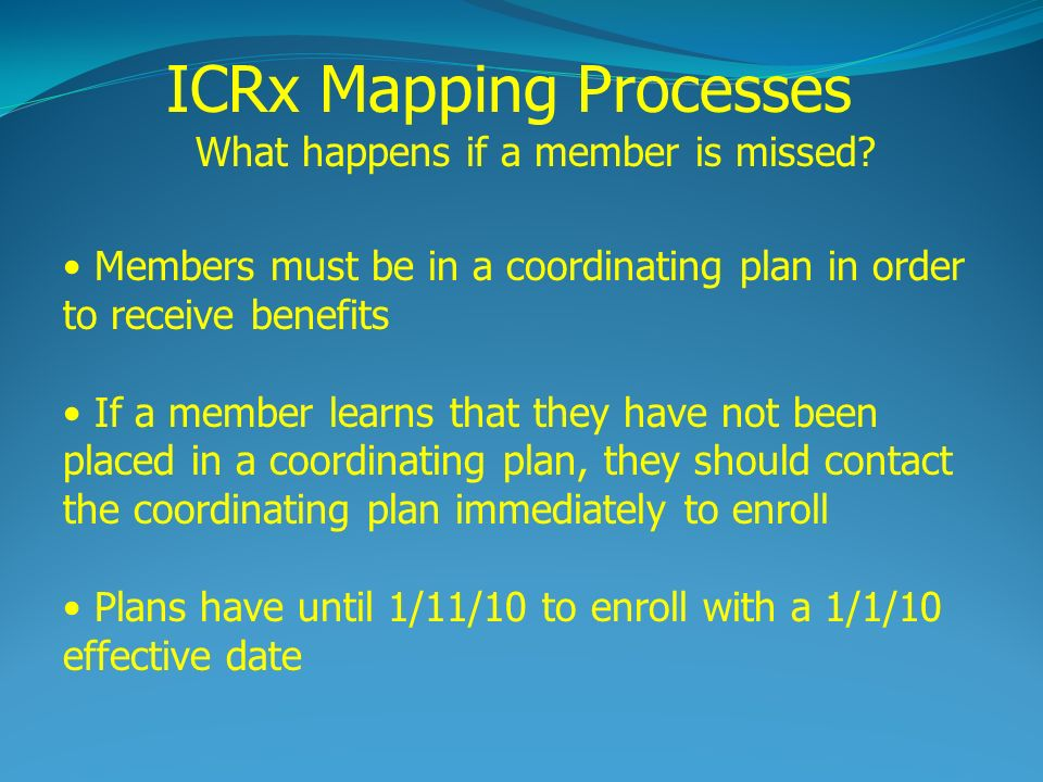 Members must be in a coordinating plan in order to receive benefits If a member learns that they have not been placed in a coordinating plan, they should contact the coordinating plan immediately to enroll Plans have until 1/11/10 to enroll with a 1/1/10 effective date ICRx Mapping Processes What happens if a member is missed