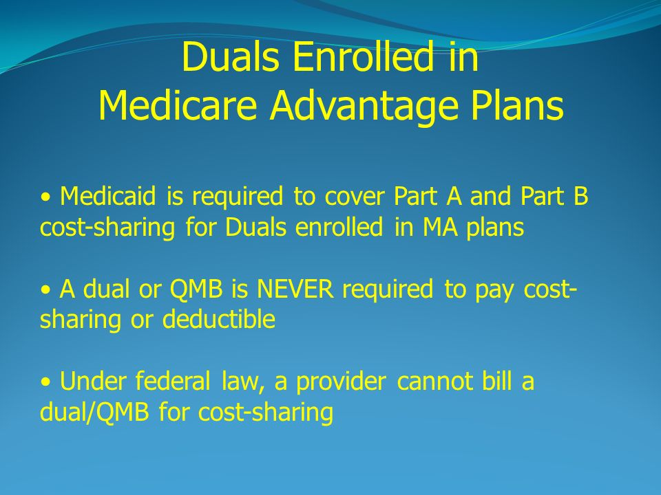 Medicaid is required to cover Part A and Part B cost-sharing for Duals enrolled in MA plans A dual or QMB is NEVER required to pay cost- sharing or deductible Under federal law, a provider cannot bill a dual/QMB for cost-sharing Duals Enrolled in Medicare Advantage Plans