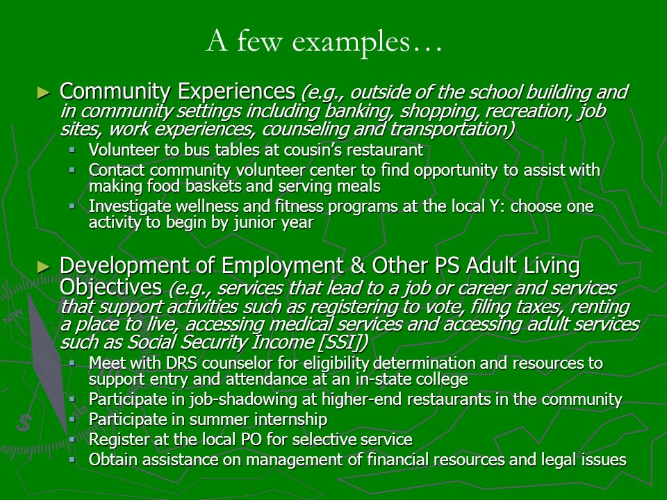 Community Experiences (e.g., outside of the school building and in community settings including banking, shopping, recreation, job sites, work experie