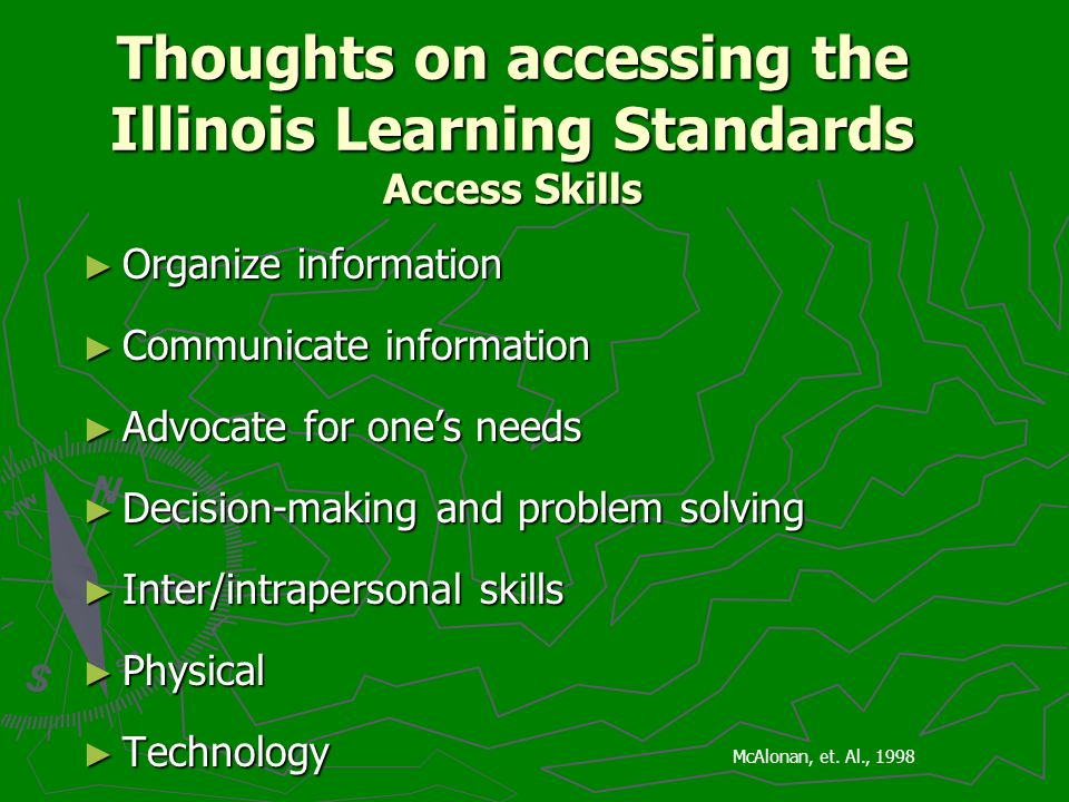 Thoughts on accessing the Illinois Learning Standards Access Skills Organize information Organize information Communicate information Communicate information Advocate for ones needs Advocate for ones needs Decision-making and problem solving Decision-making and problem solving Inter/intrapersonal skills Inter/intrapersonal skills Physical Physical Technology Technology McAlonan, et.