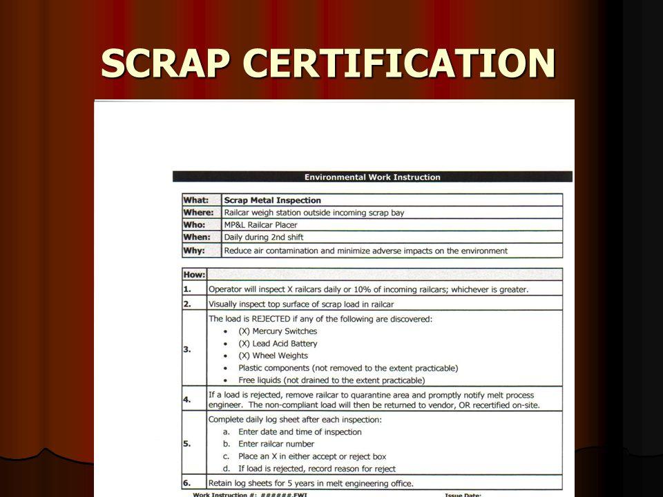SCRAP CERTIFICATION