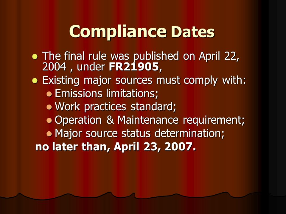 Compliance Dates The final rule was published on April 22, 2004, under FR21905, The final rule was published on April 22, 2004, under FR21905, Existin