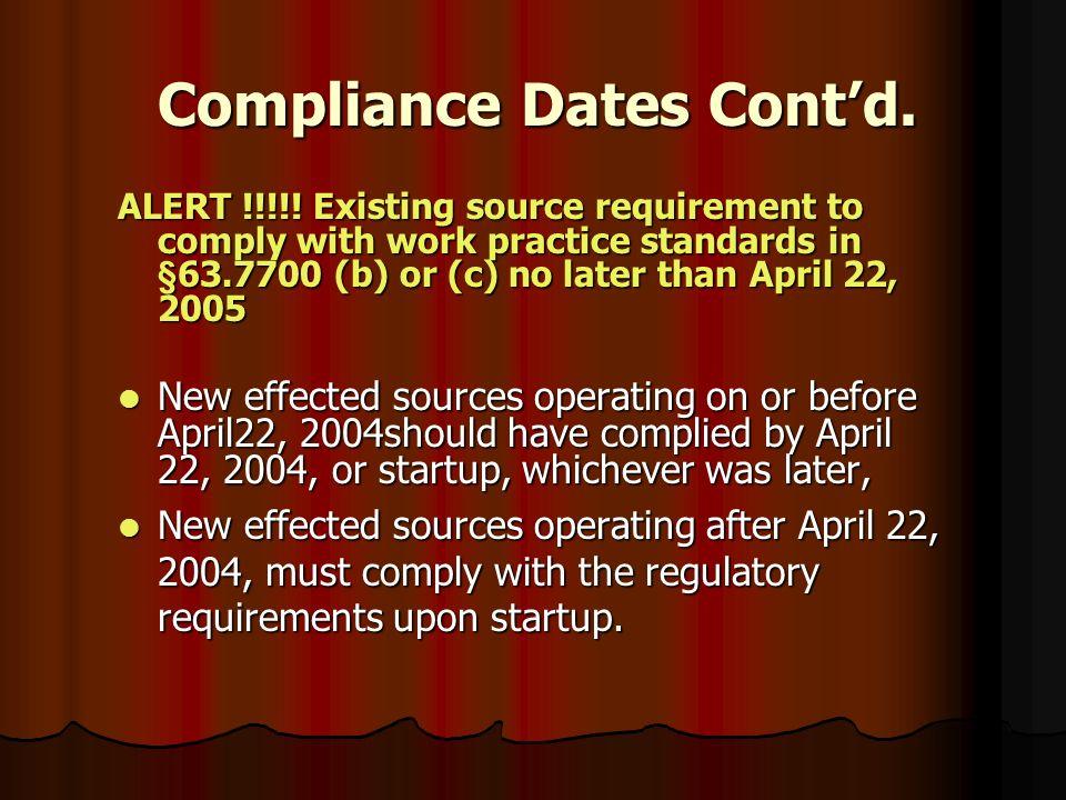 Compliance Dates Contd.
