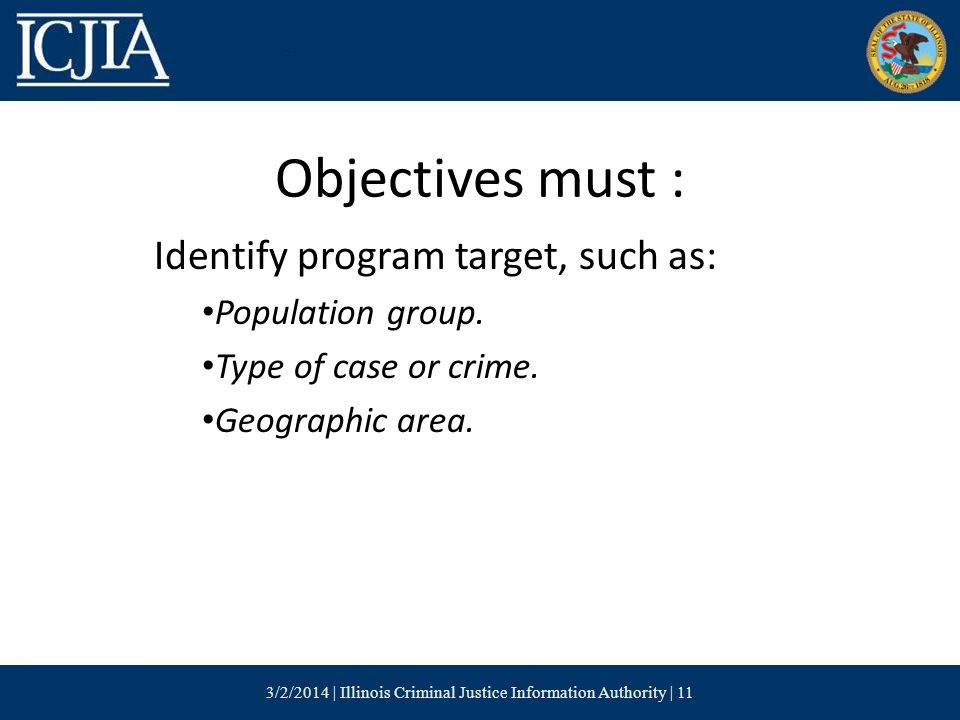 Objectives must : Identify program target, such as: Population group.