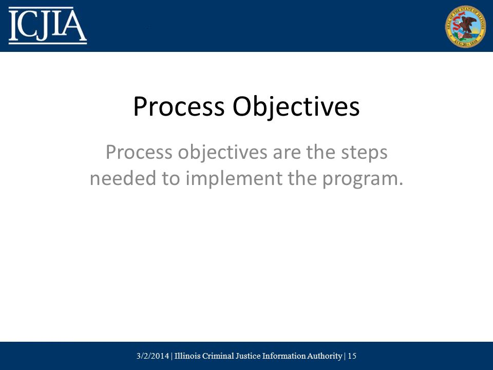 Process Objectives Process objectives are the steps needed to implement the program.