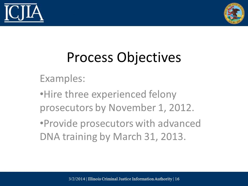 Process Objectives Examples: Hire three experienced felony prosecutors by November 1, 2012.
