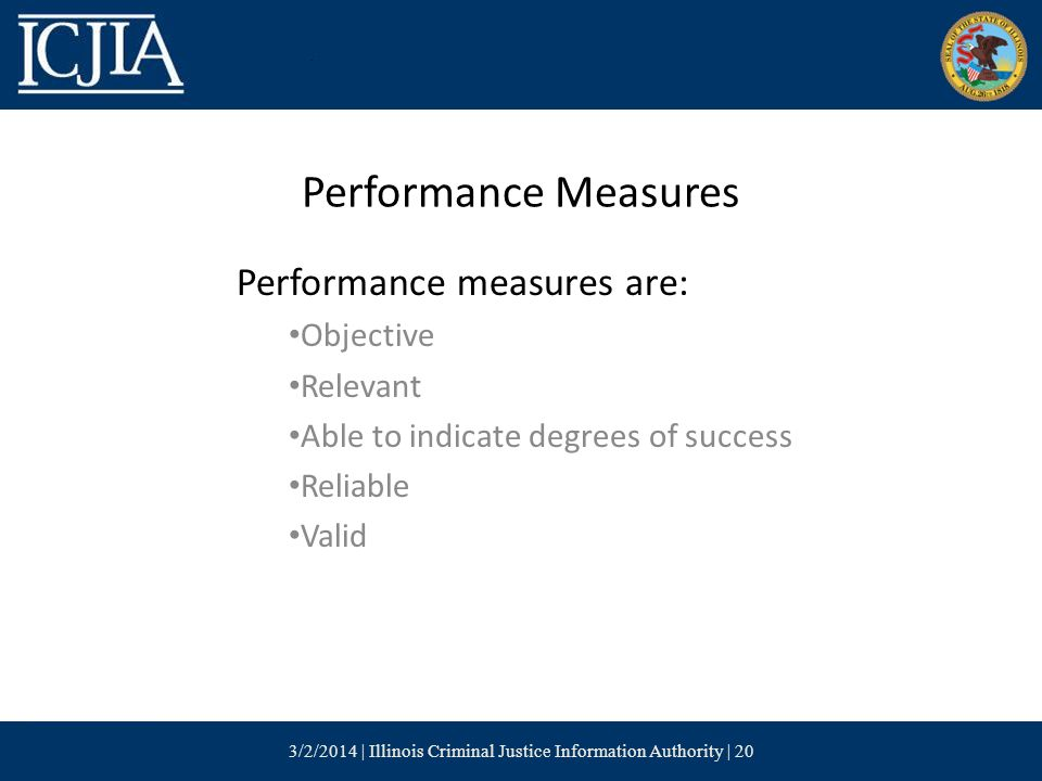 Performance Measures Performance measures are: Objective Relevant Able to indicate degrees of success Reliable Valid 3/2/2014 | Illinois Criminal Justice Information Authority | 20