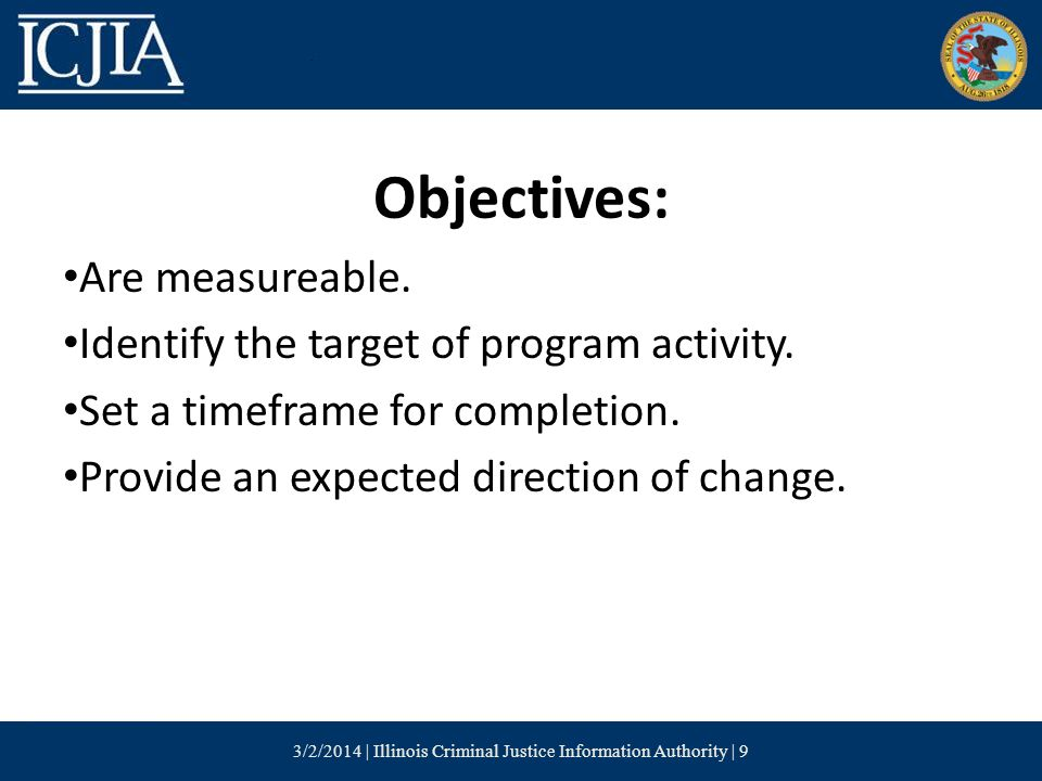 Objectives: Are measureable. Identify the target of program activity.